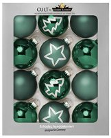 KREBS & SOHN Set Weihnachtskugeln aus Glas 8 cm - Christbaumschmuck Christbaumkugeln Weihnachtsdeko - 12-teilig, Grün, Sterne - 1