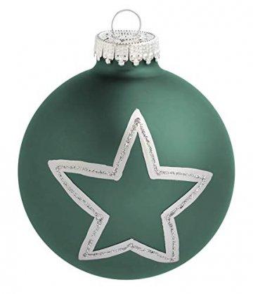 KREBS & SOHN Set Weihnachtskugeln aus Glas 8 cm - Christbaumschmuck Christbaumkugeln Weihnachtsdeko - 12-teilig, Grün, Sterne - 3