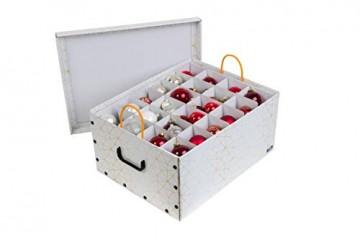 Kreher Weihnachtlicher XL Deko Karton mit Einsätzen für ca. 40 Weihnachtskugeln. Aus stabiler Pappe mit Griffen aus Kunststoff. In Weiss mit einem goldfarbenen Retro-Design Aufdruck. - 3
