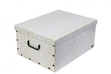 Kreher Weihnachtlicher XL Deko Karton mit Einsätzen für ca. 40 Weihnachtskugeln. Aus stabiler Pappe mit Griffen aus Kunststoff. In Weiss mit einem goldfarbenen Retro-Design Aufdruck. - 4