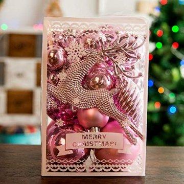LTSWEET 60 Teile/Satz Weihnachtskugel Kunststoff Christbaumkugeln Weihnachtsbaumschmuck Anhänger Geschenkpaket für Urlaub Haushalt Party Dekoration,Rosa - 3