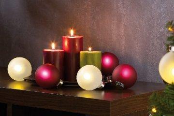 Lunartec Christbaumkugeln: Beleuchtete Weihnachtsbaum-Kugeln aus Glas, mit Fernbed,6 Stück, weiß (Weihnachtskugeln beleuchtet) - 4