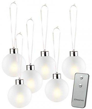 Lunartec Christbaumkugeln: Beleuchtete Weihnachtsbaum-Kugeln aus Glas, mit Fernbed,6 Stück, weiß (Weihnachtskugeln beleuchtet) - 1