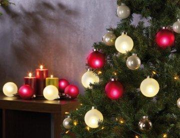 Lunartec Christbaumkugeln: Beleuchtete Weihnachtsbaum-Kugeln aus Glas, mit Fernbed,6 Stück, weiß (Weihnachtskugeln beleuchtet) - 5