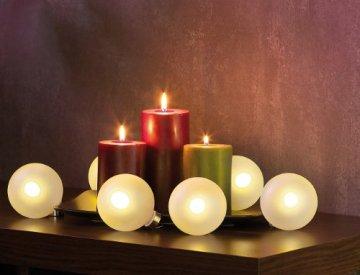 Lunartec Christbaumkugeln: Beleuchtete Weihnachtsbaum-Kugeln aus Glas, mit Fernbed,6 Stück, weiß (Weihnachtskugeln beleuchtet) - 6