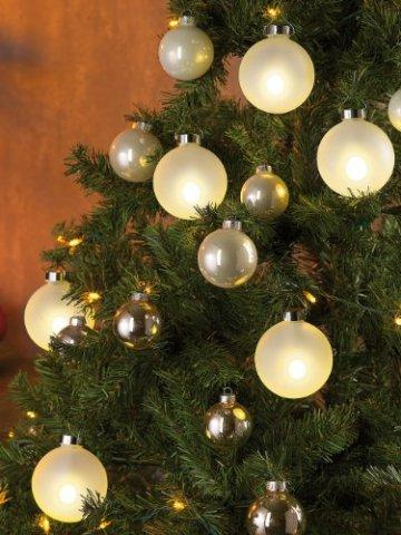 Lunartec Christbaumkugeln: Beleuchtete Weihnachtsbaum-Kugeln aus Glas, mit Fernbed,6 Stück, weiß (Weihnachtskugeln beleuchtet) - 7