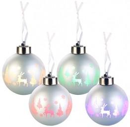 Lunartec LED Weihnachtskugel: Christbaumkugeln mit Farbwechsel-LEDs, Ø 8cm, 4er-Set (LED Weihnachtskugeln kabellos) - 1