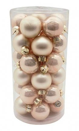 MAGIC Weihnachtskugeln Glas 4cm, 30 Stück Christbaumkugeln Deko Weihnachten, Farbe: Perle - Champagner Opal/matt - 1