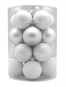 Magic Weihnachtskugeln Glas 6cm, 20 STK. Christbaumkugeln, Farbe: Just White-Mix (weiß) - 1