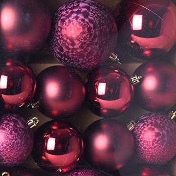 Multistore 2002 31er Set Weihnachtskugeln Ø8/6/5cm, Bordeaux - Weihnachtsbaumkugeln Christbaumkugeln Christbaumschmuck Baumschmuck Dekokugeln - 2