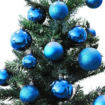 Multistore 2002 70 Stück Weihnachtskugeln Set Ø4/5/6cm Blau in Aufbewahrungsbox Kunststoffkugeln Christbaumkugeln Baumschmuck Tannenbaumkugeln - 2