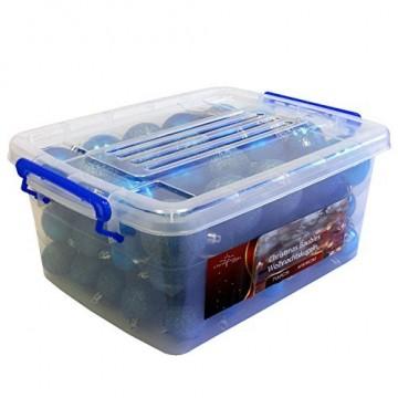 Multistore 2002 70 Stück Weihnachtskugeln Set Ø4/5/6cm Blau in Aufbewahrungsbox Kunststoffkugeln Christbaumkugeln Baumschmuck Tannenbaumkugeln - 1