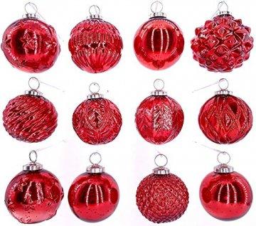 My-goodbuy24 Premium Weihnachtskugeln 12-teiliges Set Echtglas Glaskugeln Weihnachten Weihnachtsdeko Tannenbaumkugeln Glas Christbaumkugeln Weihnachtsbaum (I223) - 1