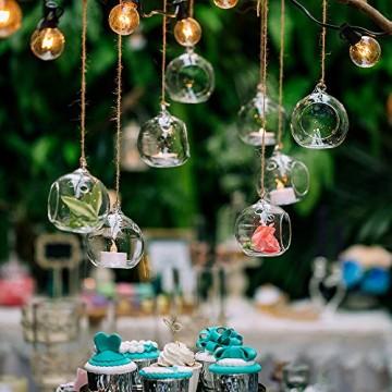 Nuptio 12 Stücke Hängen Glaskugel Teelicht Kerzenhalter Paket Aktualisiert Hause Hochzeit Mittelstücke Decor Indoor & Outdoor Teelicht Kerzenhalter (10 Stücke + 2 Stücke, mit 2 Löchern) - 3