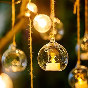 Nuptio 12 Stücke Hängen Glaskugel Teelicht Kerzenhalter Paket Aktualisiert Hause Hochzeit Mittelstücke Decor Indoor & Outdoor Teelicht Kerzenhalter (10 Stücke + 2 Stücke, mit 2 Löchern) - 4