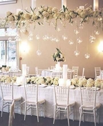 Nuptio 12 Stücke Hängen Glaskugel Teelicht Kerzenhalter Paket Aktualisiert Hause Hochzeit Mittelstücke Decor Indoor & Outdoor Teelicht Kerzenhalter (10 Stücke + 2 Stücke, mit 2 Löchern) - 5