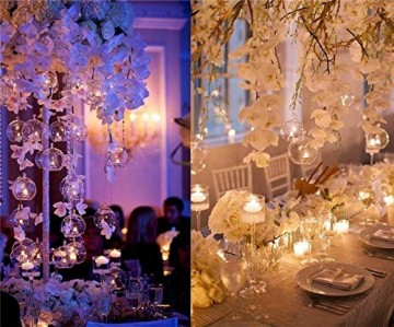 Nuptio 12 Stücke Hängen Glaskugel Teelicht Kerzenhalter Paket Aktualisiert Hause Hochzeit Mittelstücke Decor Indoor & Outdoor Teelicht Kerzenhalter (10 Stücke + 2 Stücke, mit 2 Löchern) - 8