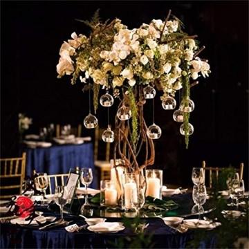Nuptio 12 Stücke Hängen Glaskugel Teelicht Kerzenhalter Paket Aktualisiert Hause Hochzeit Mittelstücke Decor Indoor & Outdoor Teelicht Kerzenhalter (10 Stücke + 2 Stücke, mit 2 Löchern) - 9