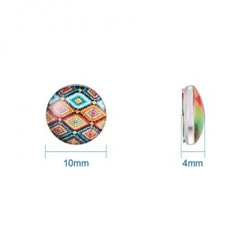 PandaHall 200 Stück Bedrucktes Glas Halbrund Kuppel Glascabochons Gemischte Farbe Größe 10x4mm - 2