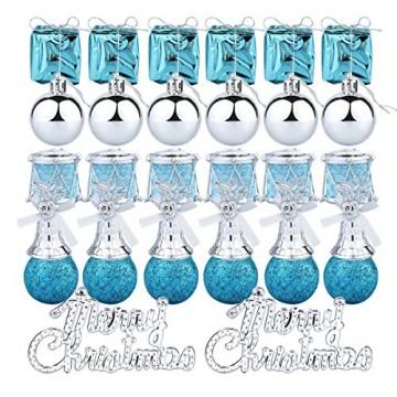 Parsion Weihnachtskugeln Weihnachtsdeko 32pcs Weihnachtskugeln Baumkugeln Baumschmuck Weihnachtsdeko Anhänger für Weihnachtsbaum-Ausgangsdekoration (blau) - 2