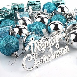 Parsion Weihnachtskugeln Weihnachtsdeko 32pcs Weihnachtskugeln Baumkugeln Baumschmuck Weihnachtsdeko Anhänger für Weihnachtsbaum-Ausgangsdekoration (blau) - 1