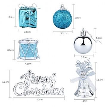 Parsion Weihnachtskugeln Weihnachtsdeko 32pcs Weihnachtskugeln Baumkugeln Baumschmuck Weihnachtsdeko Anhänger für Weihnachtsbaum-Ausgangsdekoration (blau) - 4
