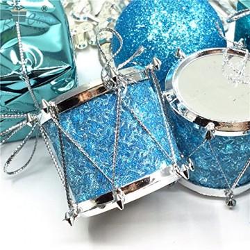 Parsion Weihnachtskugeln Weihnachtsdeko 32pcs Weihnachtskugeln Baumkugeln Baumschmuck Weihnachtsdeko Anhänger für Weihnachtsbaum-Ausgangsdekoration (blau) - 5