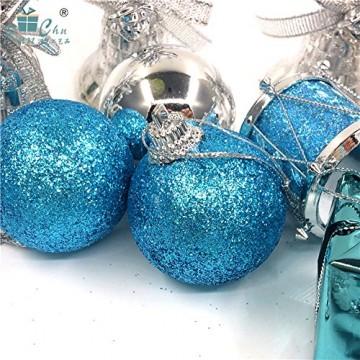 Parsion Weihnachtskugeln Weihnachtsdeko 32pcs Weihnachtskugeln Baumkugeln Baumschmuck Weihnachtsdeko Anhänger für Weihnachtsbaum-Ausgangsdekoration (blau) - 6