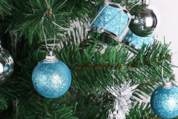Parsion Weihnachtskugeln Weihnachtsdeko 32pcs Weihnachtskugeln Baumkugeln Baumschmuck Weihnachtsdeko Anhänger für Weihnachtsbaum-Ausgangsdekoration (blau) - 7