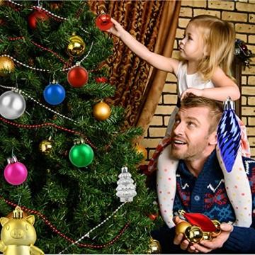 Redmoo Weihnachtskugeln, 30 Stücke Kunststoff Christbaumkugeln Weihnachtsdeko mit Aufhänger, Glänzend Glitzernd Matt Weihnachtsbaumschmuck Dekoration Rot Rosa Gold Grün Silber MEHRWEG Verpackung - 3