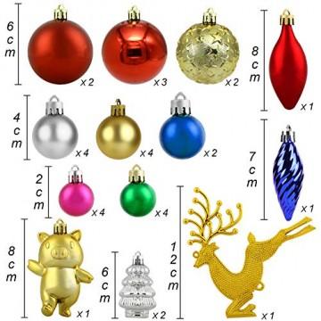 Redmoo Weihnachtskugeln, 30 Stücke Kunststoff Christbaumkugeln Weihnachtsdeko mit Aufhänger, Glänzend Glitzernd Matt Weihnachtsbaumschmuck Dekoration Rot Rosa Gold Grün Silber MEHRWEG Verpackung - 4