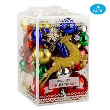 Redmoo Weihnachtskugeln, 30 Stücke Kunststoff Christbaumkugeln Weihnachtsdeko mit Aufhänger, Glänzend Glitzernd Matt Weihnachtsbaumschmuck Dekoration Rot Rosa Gold Grün Silber MEHRWEG Verpackung - 1