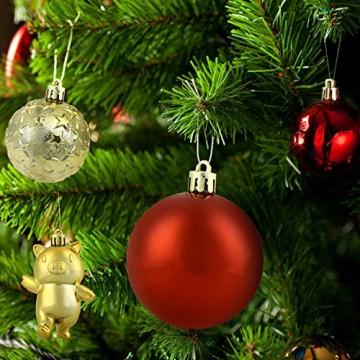 Redmoo Weihnachtskugeln, 30 Stücke Kunststoff Christbaumkugeln Weihnachtsdeko mit Aufhänger, Glänzend Glitzernd Matt Weihnachtsbaumschmuck Dekoration Rot Rosa Gold Grün Silber MEHRWEG Verpackung - 5