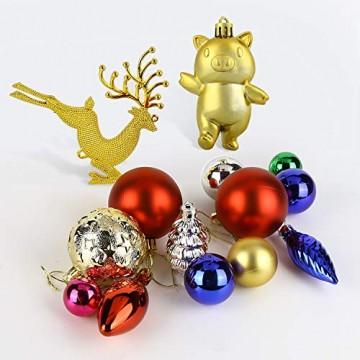 Redmoo Weihnachtskugeln, 30 Stücke Kunststoff Christbaumkugeln Weihnachtsdeko mit Aufhänger, Glänzend Glitzernd Matt Weihnachtsbaumschmuck Dekoration Rot Rosa Gold Grün Silber MEHRWEG Verpackung - 6
