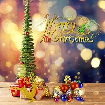Redmoo Weihnachtskugeln, 30 Stücke Kunststoff Christbaumkugeln Weihnachtsdeko mit Aufhänger, Glänzend Glitzernd Matt Weihnachtsbaumschmuck Dekoration Rot Rosa Gold Grün Silber MEHRWEG Verpackung - 7