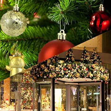 Redmoo Weihnachtskugeln, 30 Stücke Kunststoff Christbaumkugeln Weihnachtsdeko mit Aufhänger, Glänzend Glitzernd Matt Weihnachtsbaumschmuck Dekoration Rot Rosa Gold Grün Silber MEHRWEG Verpackung - 8