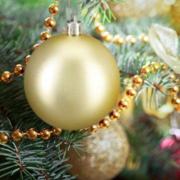 Relaxdays Weihnachtskugeln, 100er Set, Weihnachtsdeko, matt, glänzend, glitzernd, Christbaumkugel ∅ 3,4 & 6 cm, Gold, PS, 7 x 6 x 6 cm - 2