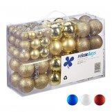 Relaxdays Weihnachtskugeln, 100er Set, Weihnachtsdeko, matt, glänzend, glitzernd, Christbaumkugel ∅ 3,4 & 6 cm, Gold, PS, 7 x 6 x 6 cm - 1