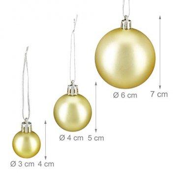 Relaxdays Weihnachtskugeln, 100er Set, Weihnachtsdeko, matt, glänzend, glitzernd, Christbaumkugel ∅ 3,4 & 6 cm, Gold, PS, 7 x 6 x 6 cm - 4