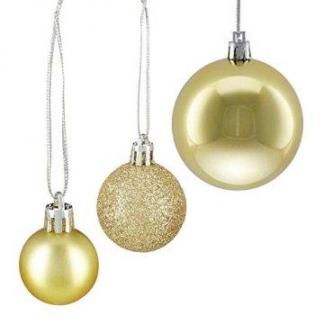 Relaxdays Weihnachtskugeln, 100er Set, Weihnachtsdeko, matt, glänzend, glitzernd, Christbaumkugel ∅ 3,4 & 6 cm, Gold, PS, 7 x 6 x 6 cm - 6