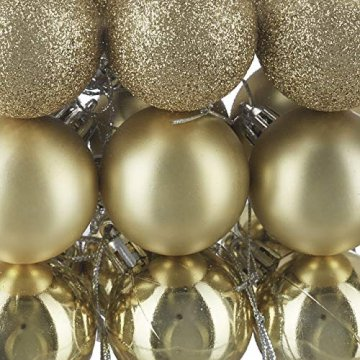 Relaxdays Weihnachtskugeln, 100er Set, Weihnachtsdeko, matt, glänzend, glitzernd, Christbaumkugel ∅ 3,4 & 6 cm, Gold, PS, 7 x 6 x 6 cm - 7