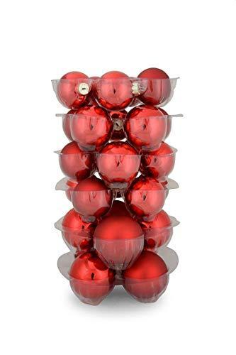 Riffelmacher 69581 Christbaumkugeln für Weihnachten, Baumkugeln aus Glas 31-teilig, Rot - 3