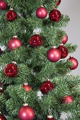 Riffelmacher 69581 Christbaumkugeln für Weihnachten, Baumkugeln aus Glas 31-teilig, Rot - 1