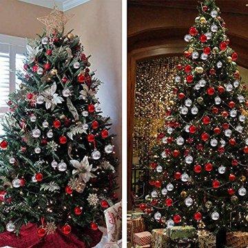 Rongyuxuan 48 stücke Christbaumkugeln Silber Bruchsichere Baumkugeln Ornamente Personalisierte Glänzende Weihnachten Hängende Dekoration für Festival Party (4-6 cm) - 2