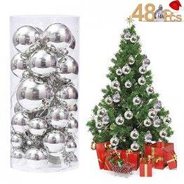 Rongyuxuan 48 stücke Christbaumkugeln Silber Bruchsichere Baumkugeln Ornamente Personalisierte Glänzende Weihnachten Hängende Dekoration für Festival Party (4-6 cm) - 1