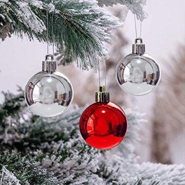 Rongyuxuan 48 stücke Christbaumkugeln Silber Bruchsichere Baumkugeln Ornamente Personalisierte Glänzende Weihnachten Hängende Dekoration für Festival Party (4-6 cm) - 5