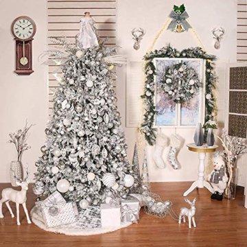 Rongyuxuan 48 stücke Christbaumkugeln Silber Bruchsichere Baumkugeln Ornamente Personalisierte Glänzende Weihnachten Hängende Dekoration für Festival Party (4-6 cm) - 6