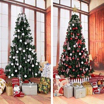 Rongyuxuan 48 stücke Christbaumkugeln Silber Bruchsichere Baumkugeln Ornamente Personalisierte Glänzende Weihnachten Hängende Dekoration für Festival Party (4-6 cm) - 7
