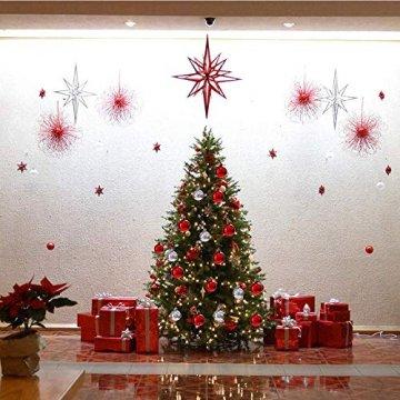 Rongyuxuan 48 stücke Christbaumkugeln Silber Bruchsichere Baumkugeln Ornamente Personalisierte Glänzende Weihnachten Hängende Dekoration für Festival Party (4-6 cm) - 9