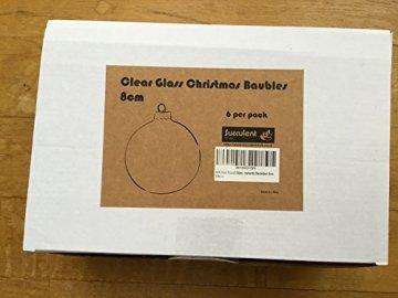 Rund klar 6 X Glas Christbaumkugeln Kugeln/Box, 8 cm, Christbaumschmuck - 3